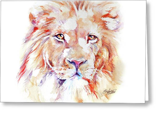 Majestic African Lion Greeting Card by Stephie Butler