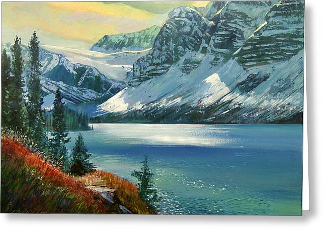 Alberta Landscape Greeting Cards - Majestic Bow River Greeting Card by David Lloyd Glover