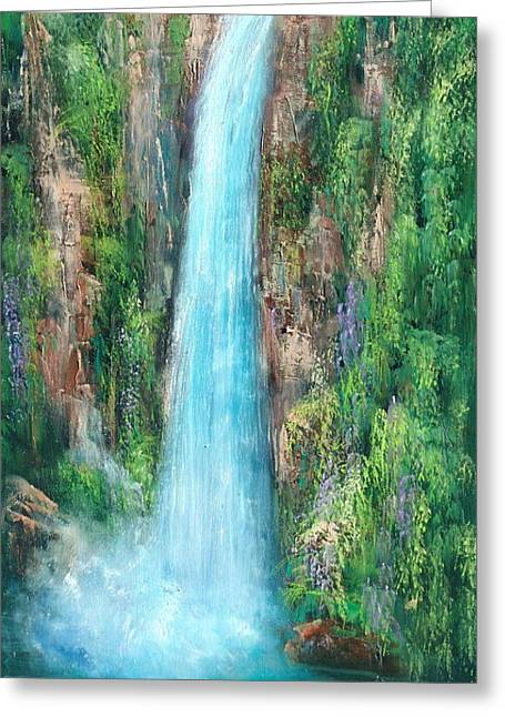 Majestic Falls Greeting Card by Sally Seago