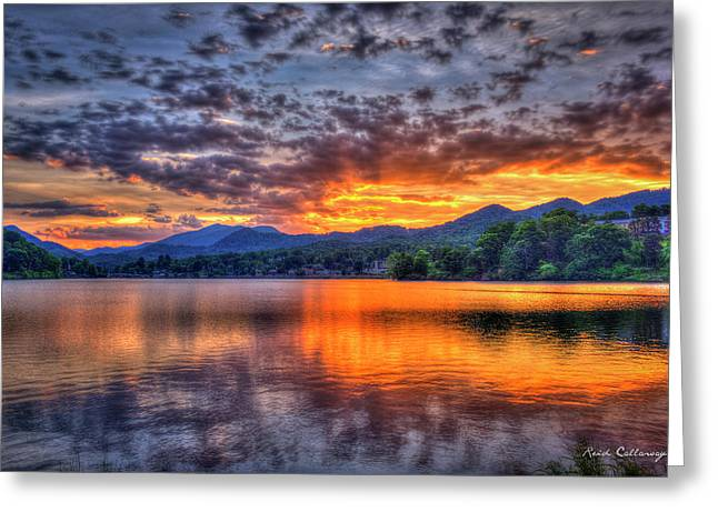 Majestic Glory Lake Junaluska Sunset Blue Ridge Mountains North Carolina Greeting Card by Reid Callaway