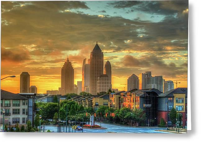 Majestic Gold Midtown Atlantic-station Atlanta Sunrise Art Greeting Card