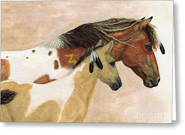 Majestic Horses Mare Foal Greeting Card