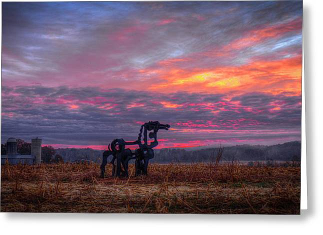 Majestic Iron Horse Sunrise Art Greeting Card by Reid Callaway