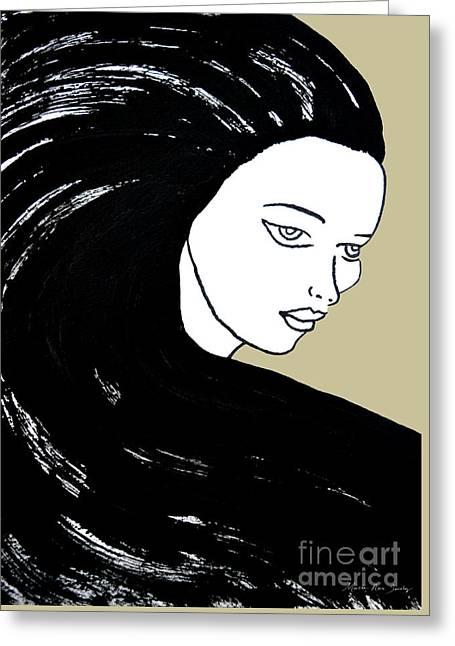 Majestic Lady J0715e Lemon Grass Green Pastel Painting 12-0626 Dcd494 C8c199 Greeting Card