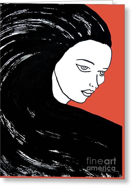 Majestic Lady J0715j Tangerine Tango Orange Pastel Painting 17-1463  E1523d F0532a Greeting Card