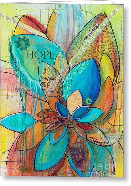 Greeting Card featuring the painting Spirit Lotus With Hope by TM Gand
