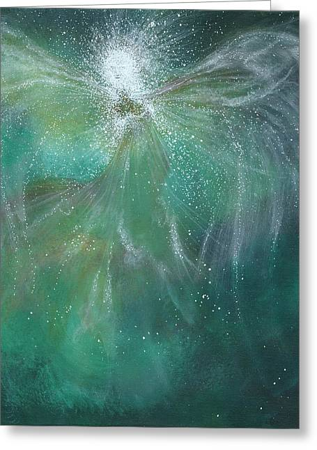 Guardian Angel Paintings Greeting Cards - Majestic Greeting Card by Naomi Walker