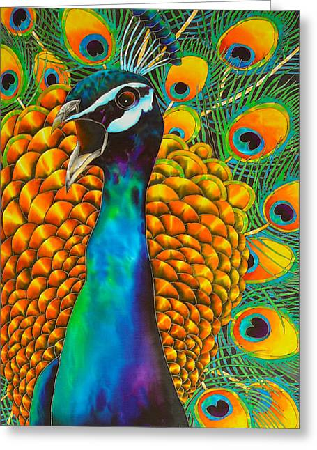 Silk Art Tapestries - Textiles Greeting Cards - Majestic Peacock Greeting Card by Daniel Jean-Baptiste