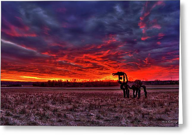 Majestic Red Clouds Winter Sunset The Iron Horse Art Greeting Card