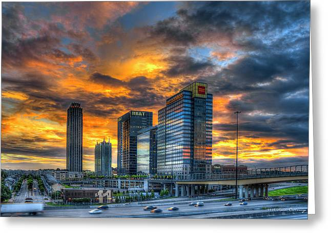 Midtown Majestic Reflections Sunset Art Greeting Card by Reid Callaway