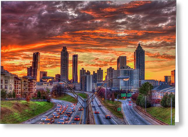 Majestic Rush Hour Atlanta Downtown Sunset Art Greeting Card by Reid Callaway