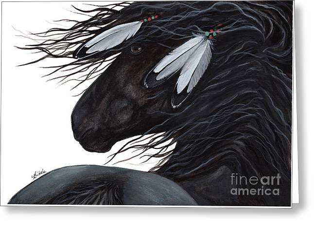 Majestic White Feathers Horse 145 Greeting Card by AmyLyn Bihrle