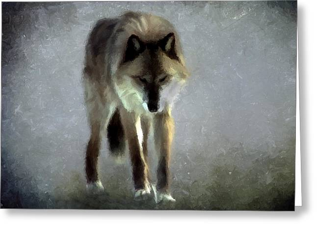 Greeting Card featuring the photograph Majestic Wolf by David Dehner