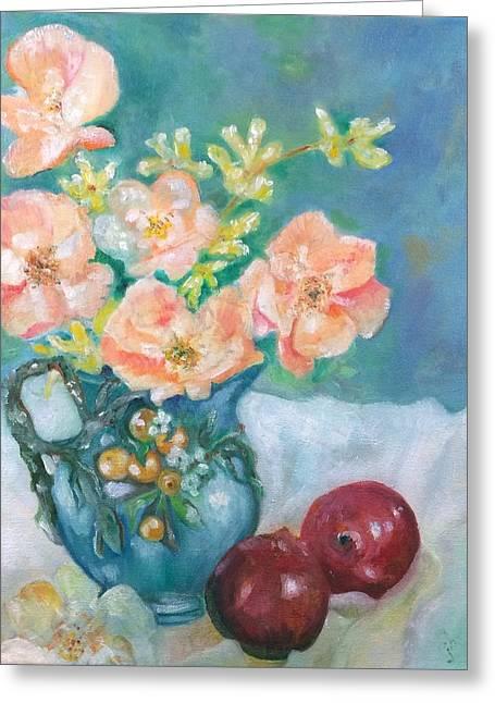 Majolica And Wild Roses Greeting Card