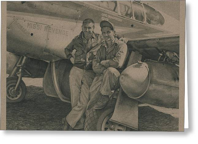 Major Edward Mccomas And Crew Chief 1944 Greeting Card by Wade Meyers