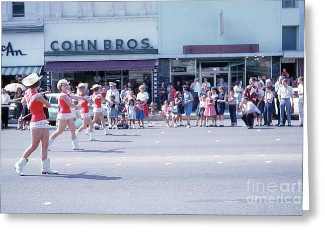 Majorettes Marching On Congress Avenue During Downtown Austin Pa Greeting Card by Herronstock Prints