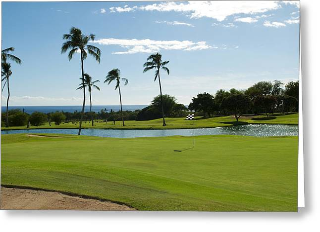 Makaha Golf Course Greeting Card by Bill Bachmann - Printscapes