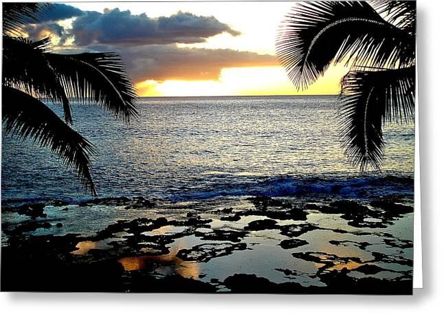 Makaha Sunset Greeting Card by Erika Swartzkopf