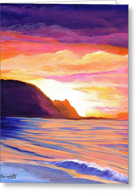 Makana Sunset Greeting Card by Marionette Taboniar