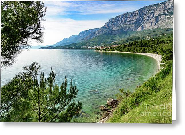Makarska Riviera White Stone Beach, Dalmatian Coast, Croatia Greeting Card