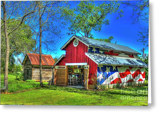 Greeting Card featuring the photograph Make America Great Again Barn American Flag Art by Reid Callaway