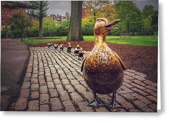 Make Way For Ducklings In Boston  Greeting Card by Carol Japp