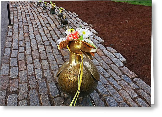 Make Way For Ducklings Spring Bonnets Boston Ma Public Garden Greeting Card by Toby McGuire
