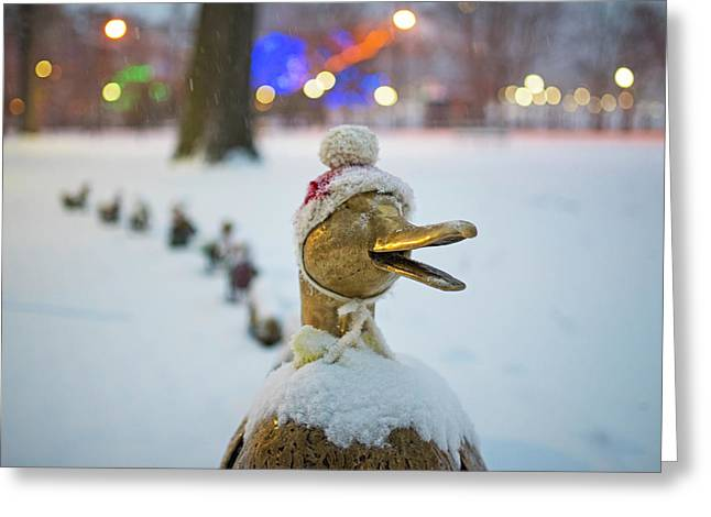 Make Way For Ducklings Winter Hats Boston Public Garden Christmas Greeting Card