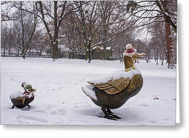 Make Way For Ducklings Winter Hats Boston Public Garden Greeting Card