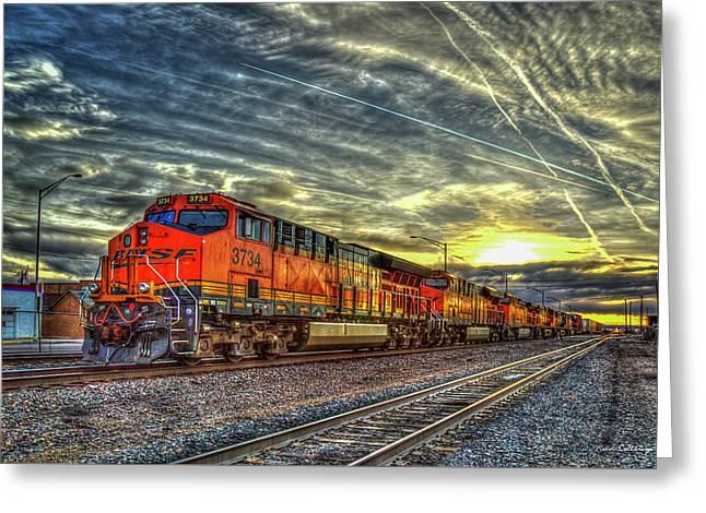 Make Way Resting B N S F Train Gallup New Mexico Art Greeting Card