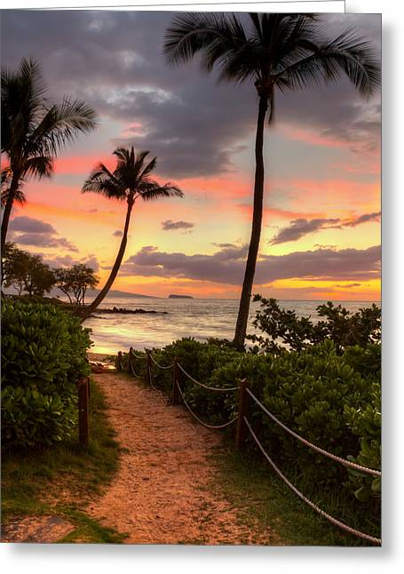 Greeting Card featuring the photograph Makena Sunset Path by Susan Rissi Tregoning