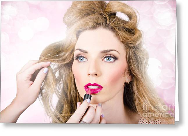 Makeup Artist Applying Lipstick On Beauty Model Greeting Card