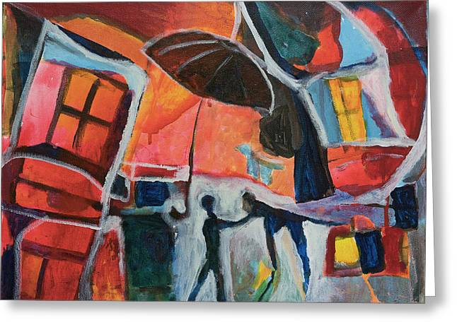 Greeting Card featuring the painting Making Friends Under The Umbrella by Susan Stone