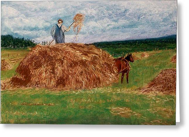Wagon Pastels Greeting Cards - Making Hay the Old Way Greeting Card by Jack Spath
