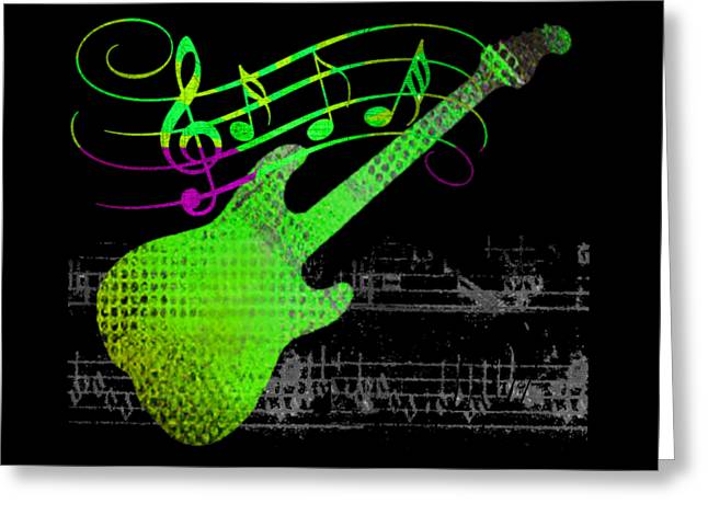 Greeting Card featuring the digital art Making Music by Guitar Wacky