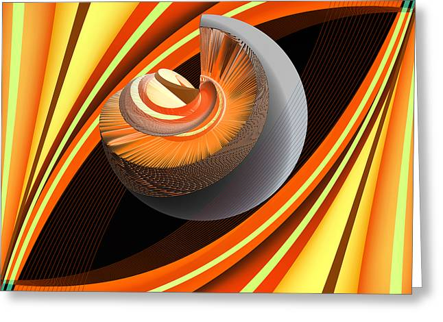 Greeting Card featuring the digital art Making Orange Planets by Angelina Vick