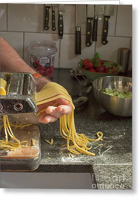 Greeting Card featuring the photograph Making Pasta by Patricia Hofmeester