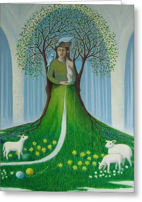 Greeting Card featuring the painting Making Spring by Tone Aanderaa