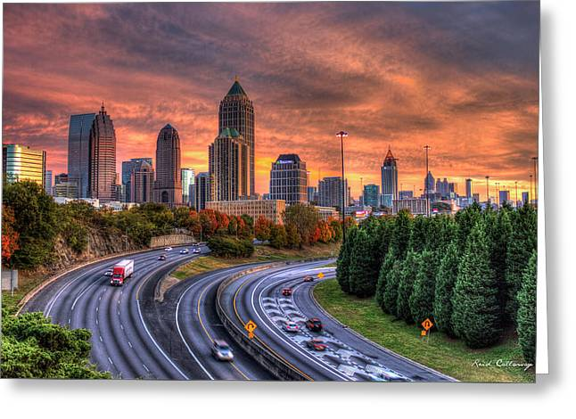 Making The Curve Atlanta Midtown To Downtown Greeting Card by Reid Callaway