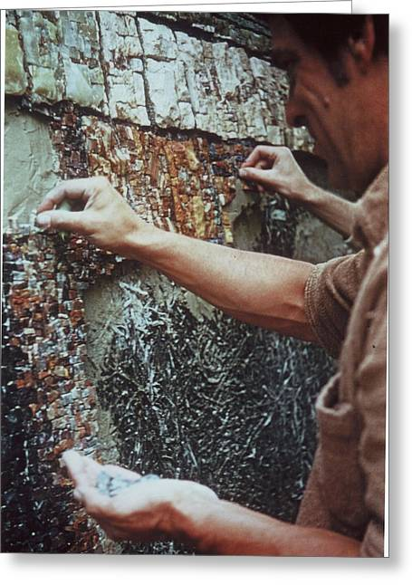 Mosaic Reliefs Greeting Cards - Making the Mosaic Case Verte1 Greeting Card by James LeGros