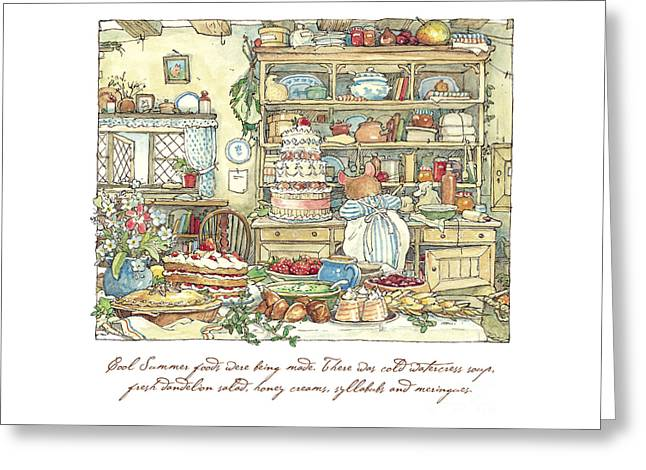 Making The Wedding Cake Greeting Card by Brambly Hedge