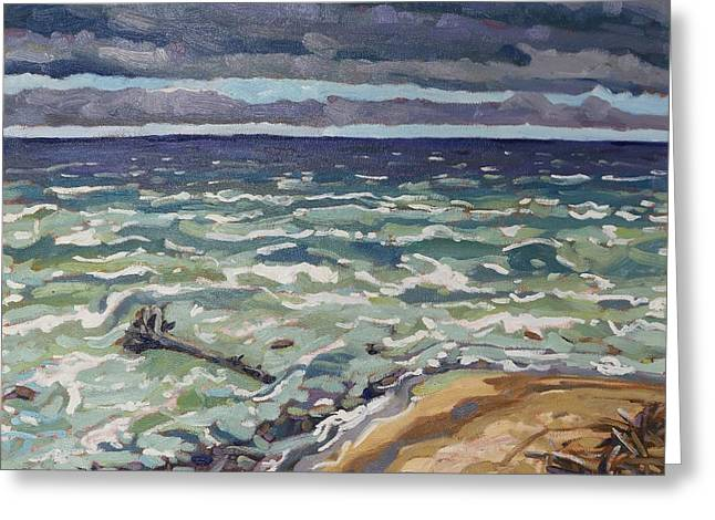 Making Waves In Oil Greeting Card by Phil Chadwick