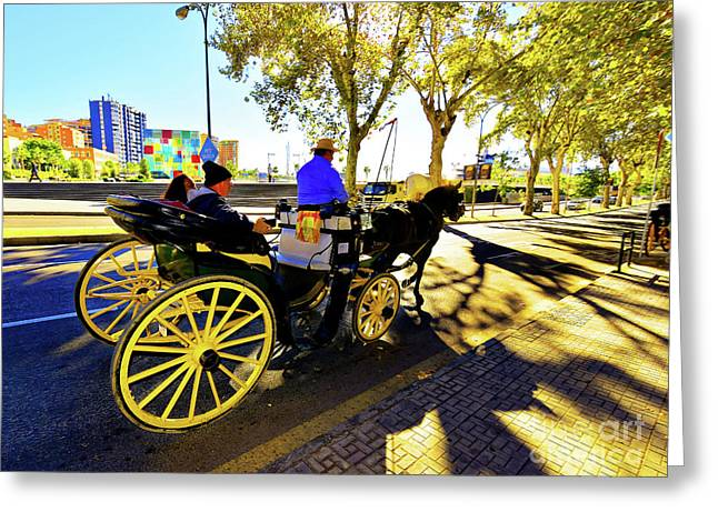 Malaga Paseo Del Parque Romantic Horse And Carriage Ride Greeting Card by Wilf Doyle
