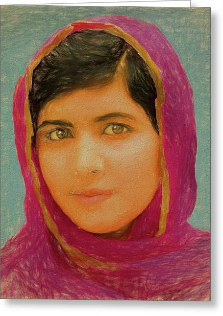 Malala Yousafzai Greeting Card by Dan Sproul