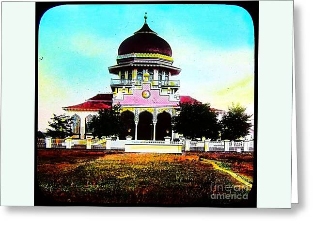 Malay Mosque Singapore Circa 1910 Greeting Card by Peter Gumaer Ogden