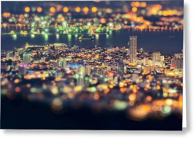 Malaysia Penang Hill At Night Greeting Card by Jordan Lye