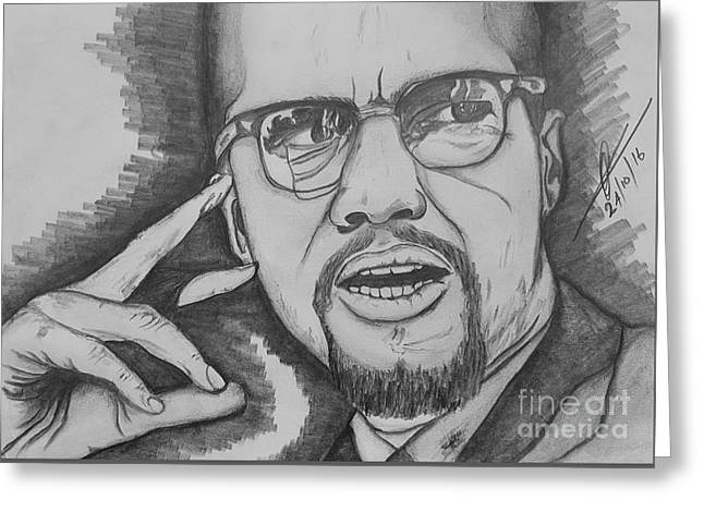 Malcolm Little   X  Greeting Card by Collin A Clarke