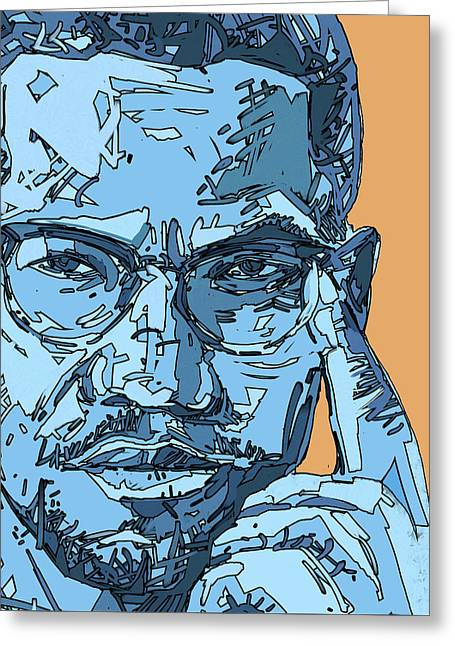 Malcolm X Blue And Orange Greeting Card