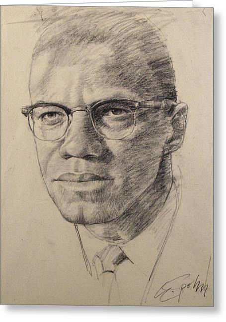 Greeting Card featuring the drawing Malcolm X by Cliff Spohn