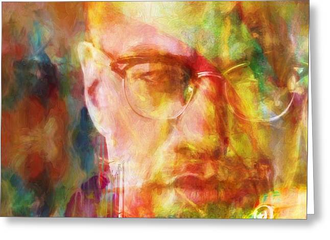 Malcolm X Greeting Card by Dan Sproul